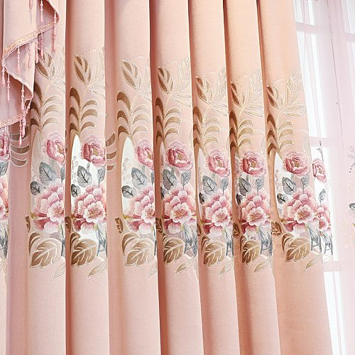 European Style Living for Room Dining Bedroom Luxury Chenille Embroidered Curtains pink Curtains Valance Curtains Window Curtain