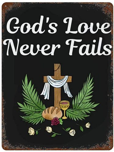 Gods Love Never Fails Flowers Wood Cross Christian Christ God Metal Wall Signs Iron Painting Tin Sign Poster Sheet Plaque A