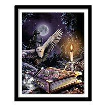 5D Diy Diamond painting Cross stitch Owl animal Diamond embroidery Magic book Full round Dimond  moon castle