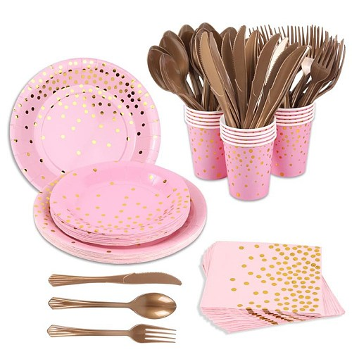 PinK gold Party Disposable Tableware Set Paper Cups Plates Straws Cake Stand Table Decoration Wedding Birthday Party Supplies