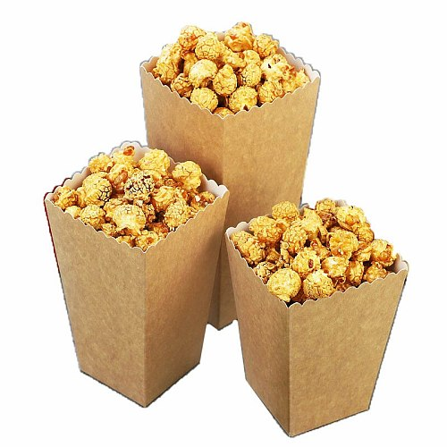 Disposable Kraft Paper Popcorn Cup Snack Paper Box Fries Stripe Box Solid Fast Food Thick Container Cinema Package Cup 50pcs/set