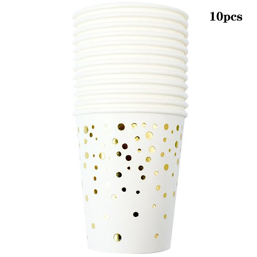 White gold Dots Theme Disposable Tableware Set Napkins for plates Paper Cup Baby Shower kids Birthday Decorations Party Supplies