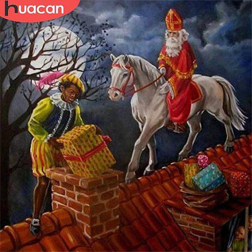 HUACAN Full Square Diamond Embroidery Santa Claus Diamond Painting Cross Stitch Cartoon Mosaic Christmas Gift Decortion