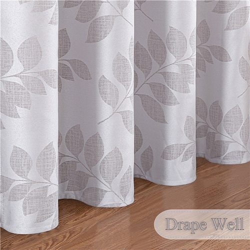 Jacquard Curtain for Bedroom Living Kitchen Window Luxury Modern Leaves Pattern Decoration Blackout Curtains Grey Brown Custom