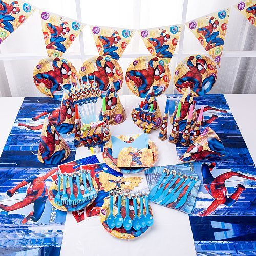 Spiderman Birthday Party Decoration Paper Plate Cup Napkin Banner/Flag Candy Box Straw Tableware Set Baby Shower Party Supplies