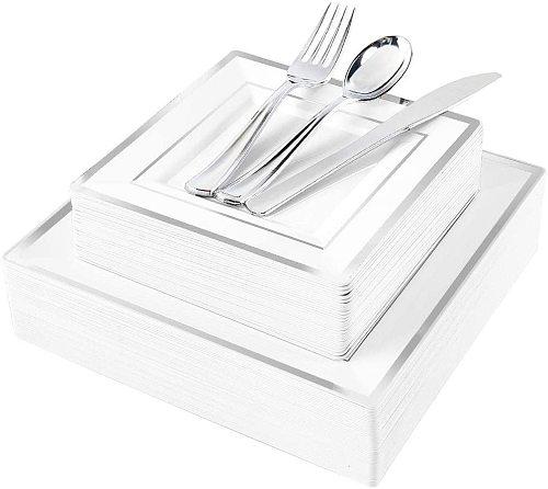 125pcs Silver Plastic Plates with Disposable Plastic Silverware-Silver Rim Square Plastic Dinnerware Set