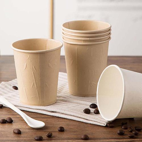 40PCS Degradable Bamboo Paper Cups 250ml Disposable Tableware Coffee Tea Cup Embossed Anti-skid Thickened Insulated Dessert Cups
