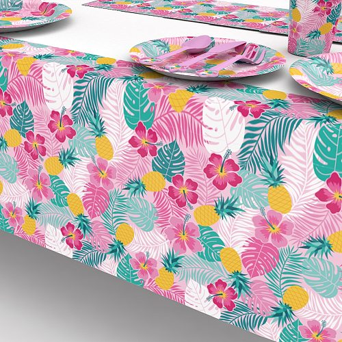 1pcs  Hawaii Style leaves flowers table cover Tablecloth Party Decoration for Kids happy Birthday Party Decoration Supplies