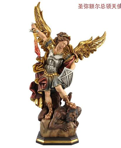 Antique St. Michael chief angel Michael Catholic holy object icamino imported from Italian handicraft Art Sculptur Statue