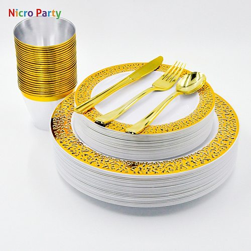 Nicro 150 pcs/set Silver Rose Gold Cups Plastic Plates Fork Knives Spoons Disposable Clear Dinnerware Set
