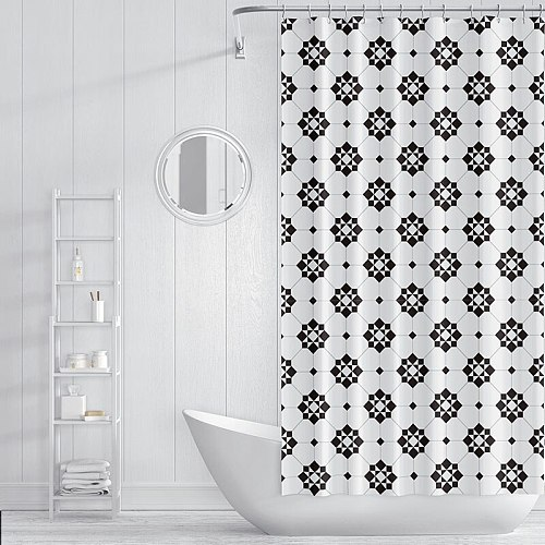 North style Waterproof Shower Curtain black and white Bathroom accessoires Curtains for Bath With Hooks set for Home Decor