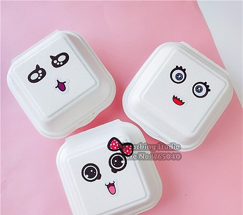 14X14x5CM Waterproof Disposable And Anti-Oil rice Food Box, Fried Food Take Out Box,takeout containers,cake box.100pcs/lot
