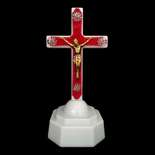 1Pc European Style Boutique LED Light Christ Jesus Lcon Cross Home Church Pray Ornaments Church Souvenirs