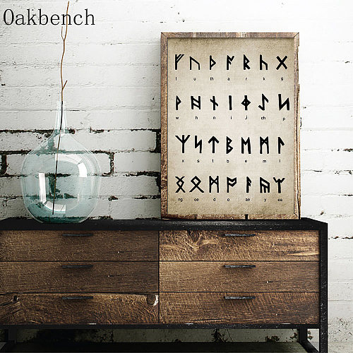 Runic Alphabet Divination Patent Vintage Print Writing Magic Vikings Poster Old Norse Language Painting Wall Picture Home Decor