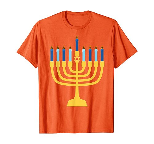 Happy Hanukkah Smiling Menorah Chanukah Jewis Lover Gifts T-Shirt