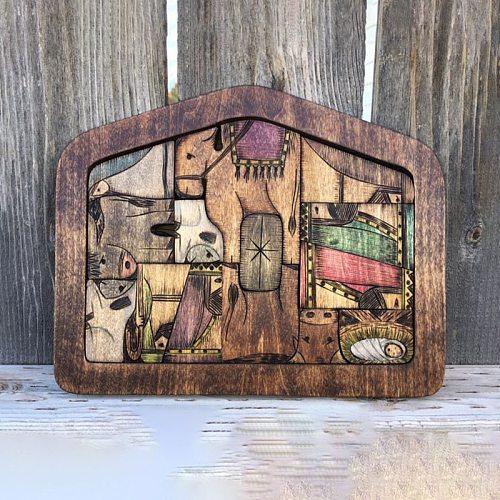 New Wooden Nativity Puzzle Wood Burned Design Jesus Puzzle Nativity Game Set Ornament Home Decoration Supplies Christian Plaques