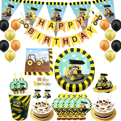 Construction Vehicles Excavator Party Disposable Tableware Paper Plate Banner Baby Shower Engineering Birthday Party Decor Ball