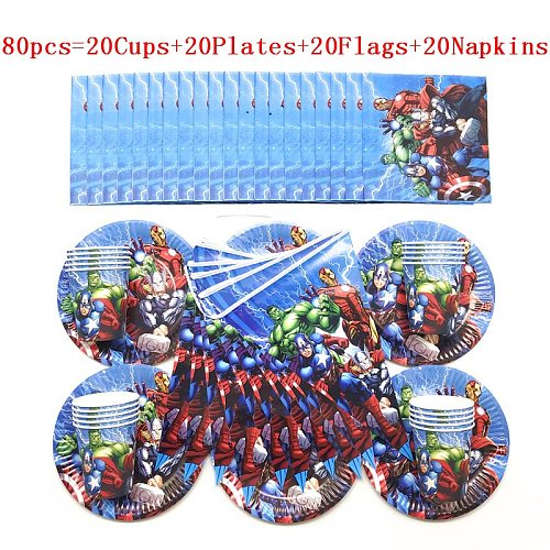 Hot Cartoon Superhero Theme Birthday Party Decorations Kids Boy Disposable Tableware Set Napkins Cups Plates Flag Party Supplies