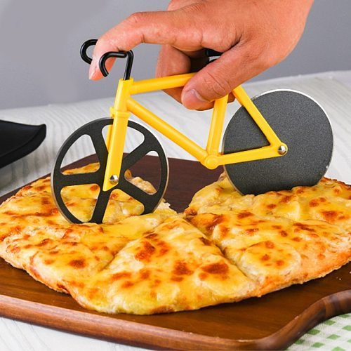 Bike Round Pizza Cutter Knives Stainless Steel Pizza Knife Bicycle Shape Cutting Knife Pizza Waffle Cookies Cut Tool