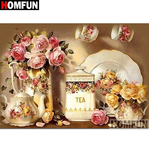 HOMFUN 5D DIY Diamond Painting Full Square/Round Drill  Flower teapot  3D Embroidery Cross Stitch gift Home Decor A01996