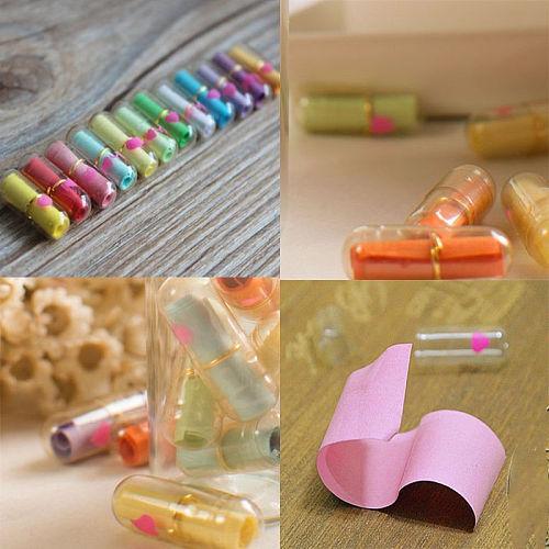 50Pcs Expression Message Letter Capsule Gift Accessories Unconventional Multiple Color Heart Shape Mini Event Party Surprised