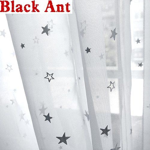Shining Stars Curtain Baby Room Cartoon Sheer Fabric Transparent Kitchen Small Window Drape Treatment Cortinas T&234#30