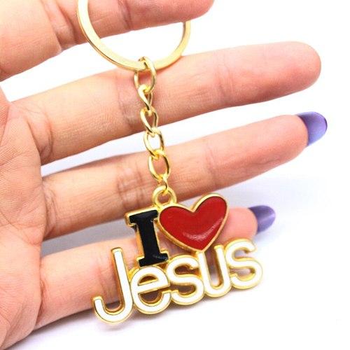 Religion Christian Dripping Oil Letter I Love Jesus Keyrings Handbags Car Key Pendants Keychains Church Souvenir Accessories
