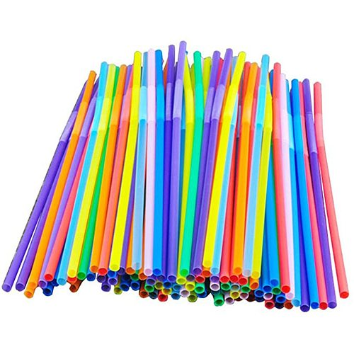 100PCS Flexible Bendy Party Disposable Plastic Drinking Straws - Assorted Colors 100pcs Drinking Straws Straw Bar Accessories