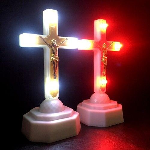 LED Light Christ Jesus Lcon Cross Home Church Pray Ornaments Church Souvenirs X6HD