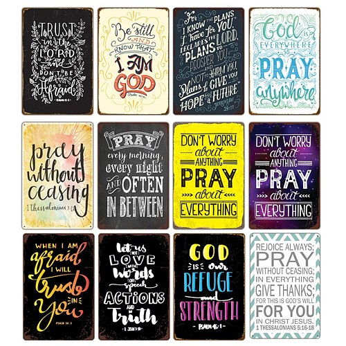 Bless Pray Day Christian God Graffiti Characters Metal Tin Sign Potsers Church Room Cafe Home Decor Plate Plaques Wall Painting