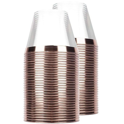 60 Pieces Rose Gold Plastic Cups, 9 Oz Clear Plastic Cups with Rose Gold Rimmed, Wedding Party Disposable Plastic Cups - Rose Go