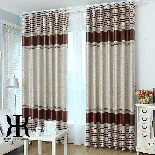 Simple curtain finished modern shading bedroom living room balcony  window flat window custom striped curtain fabric