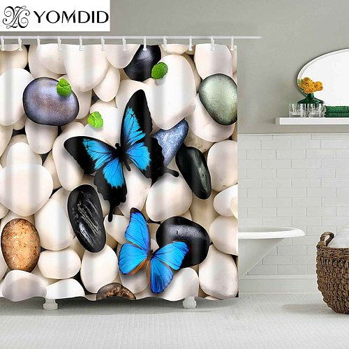 Chinese Shower Curtain Polyester Butterfly Pattern Printed Shower Curtains Bathroom Butterflies Printing Bathroom Accessories
