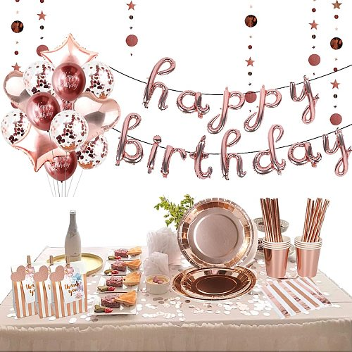 78pcs/set Rose Gold Foil Dots Tablewares decorations Napkin Cup Plate Disposable Adult Birthday Party Decor Wedding Tableware