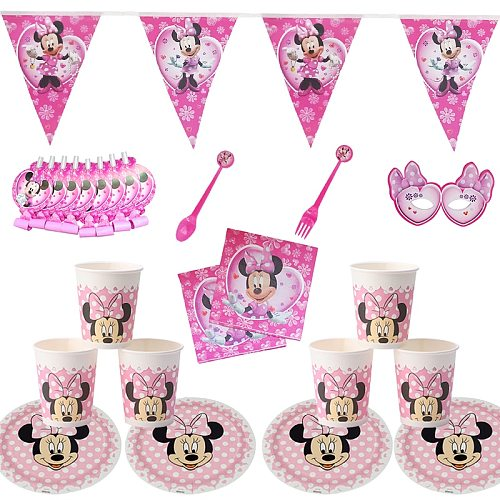 Minnie Mouse Theme Baby Bath Birthday Party Supplies Cup Plate napkin Kids Girl Party Decoration Disposable Tableware Dinner Set