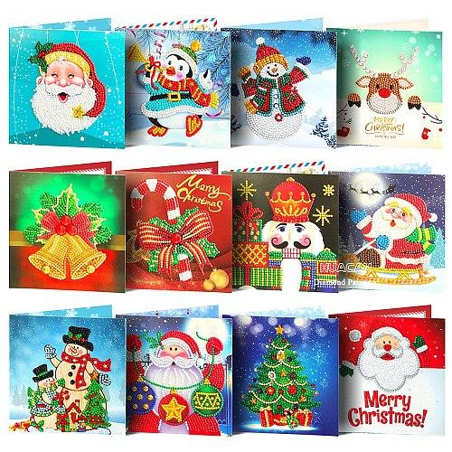HUACAN 5D DIY Diamond Painting Christmas Cards Happy Birthday Greeting Cards Diamond Embroidery Children Handmade  Birthday