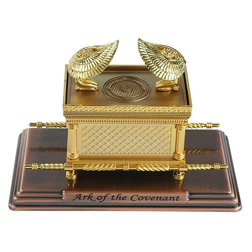 Israel Judaism Alloy The Ark of the Covenant Replica Statue Gold Plated With Ark Contents Aaron Rod