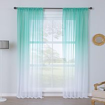 Upscale Gradient Translucent White Tulle Curtains Washable Polyester Bedroom Curtains for Living Room Sheer Voile Curtains SZ013