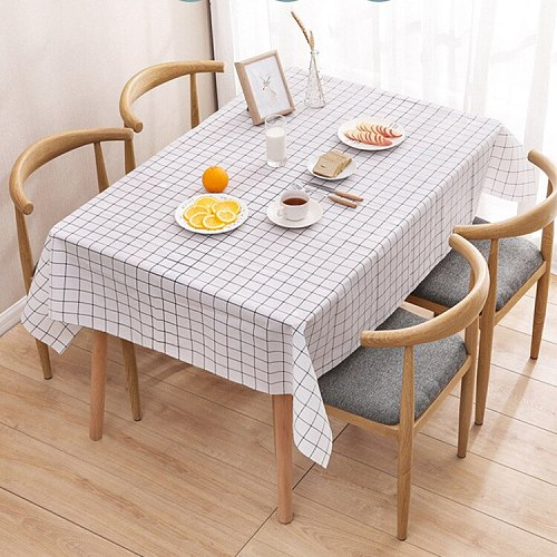Plastic PVC Rectangula Grid Printed Tablecloth Waterproof Oilproof Kitchen Dining Table Colth Cover Mat Oilcloth Antifouling
