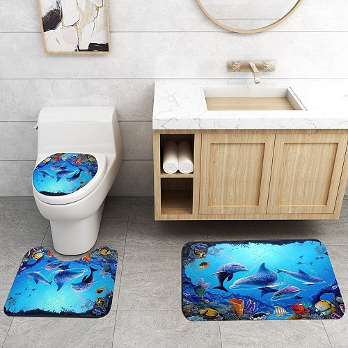 Ocean Underwater World Cheerful Dolphin 3D Printing Waterproof Shower Curtain with Rug Toilet Cover Bath Mat Set Bathroom Decor