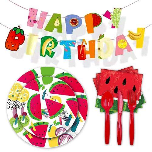 Summer Hawaii Disposable Tableware Fruit Watermelon Birthday Napkin Plates Tropical Luau Banner Happy Birthday Party Decor Kids