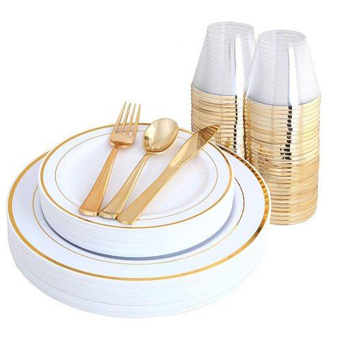70pcs Disposable Gold Tableware set Wedding Party Plastic Knives Forks Spoons  Golden Dinner Plate Restaurant Dinnerware