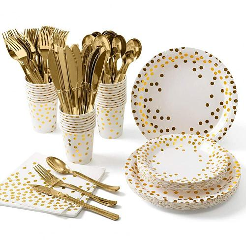 Dinnerware Dotted Pattern Disposable Paper Plates Napkins Cups Party Tableware for Wedding