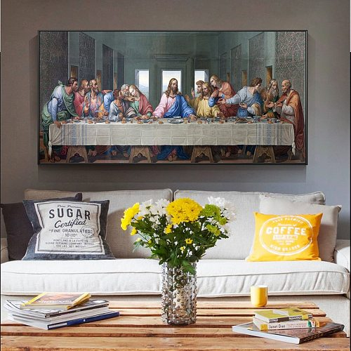 Da Vinci Last Supper Paintings Reproductions On The Wall Art Canvas Prints Christian Decorative Pictures Home Decor Cuadros