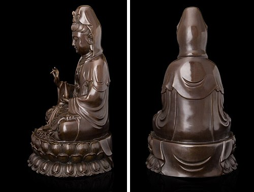 Buddhism sacred holy  # HOME Family Safety altar Mascot - efficacious Protection Lotus GUAN YIN Buddha bronze carving statue