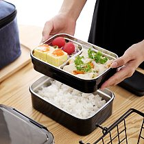 304 stainless steel insulated lunch box Water heating double lunch box Convenient student food container With insulation bag