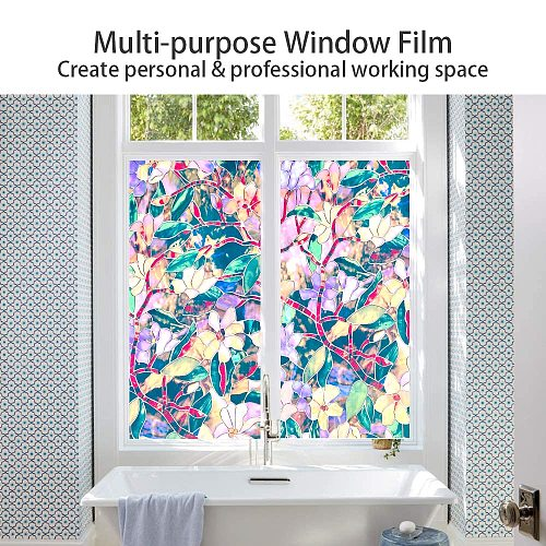 Safety Decorative Window Films Pvc Static Cling Stained Film Privacy Protective Thermal Insulation Glass Stickers Magnolia