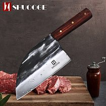 SHUOOGE Full Tang Chef Knife Handmade Forged High-carbon Clad Steel Kitchen Knives Cleaver Filleting Slicing Broad Butcher knife