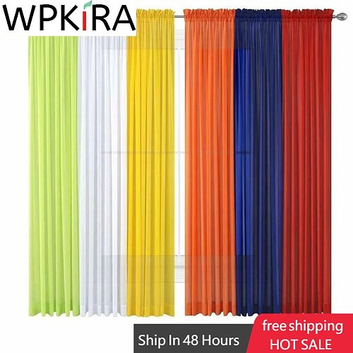 1 Pcs Rod Pocket Rainbow Curtain Pure Color Tulle Curtain For Living Room Sheer Voile Wedding Decor Modern Bedroom Window Tulle