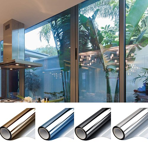 One Way Mirror Window Film Stained Sun Blocking  Reflective Self Adhesive Window Tint Privacy Vinyl Glass Stickers for Home